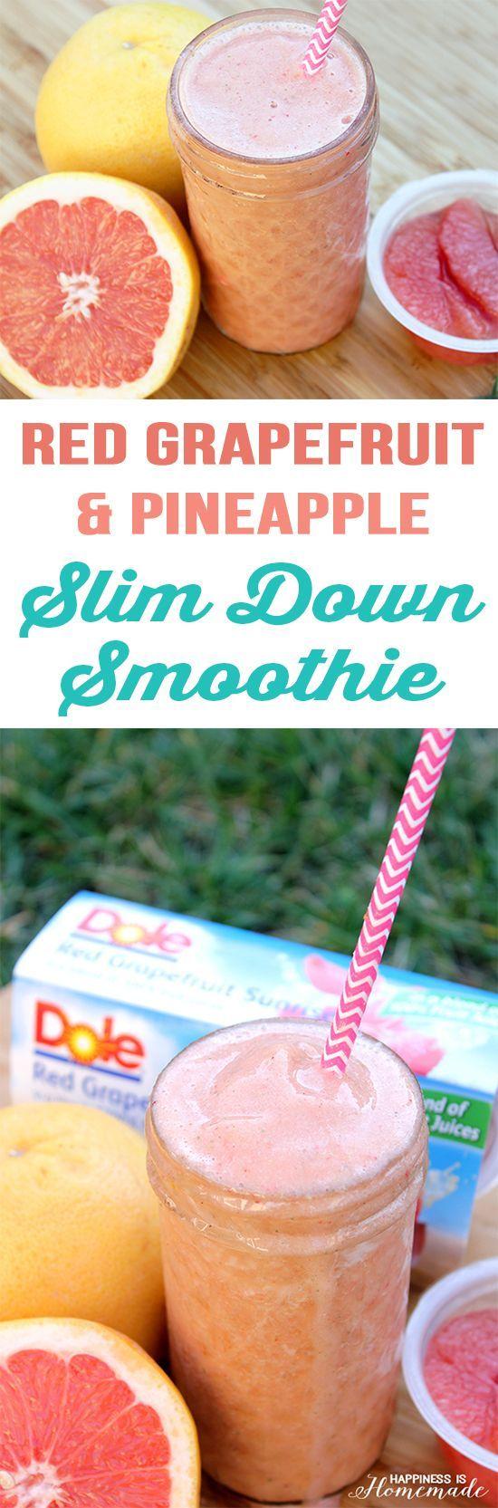 Red Grapefruit and Pineapple Slim Down Smoothie Recipe #GrapefruitBowl #ad