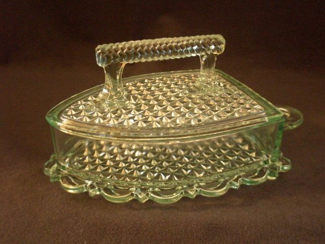 """Early American Pressed Glass Apple Green """"Sad or Flat Iron"""" Covered Butter Dish. Depression glass c.1890."""