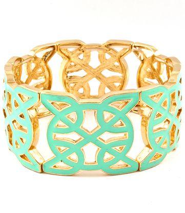 For Her: Mint Green Tile Cut Out Gold Stretch Bracelet  #bracelet #jewellery #cutout #mintgreen