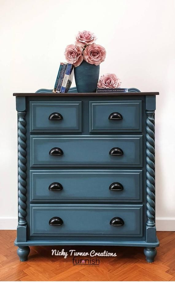 Large Painted Chest Of Drawers Painted Dresser Hand Painted In A Blue Mineral Paint In 2020 Painted Chest Painted Dresser Painted Furniture For Sale