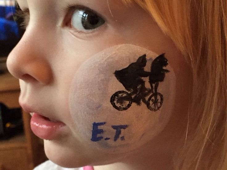 Nailed it! E.T. face paint using Snazaroo and a steady hand.
