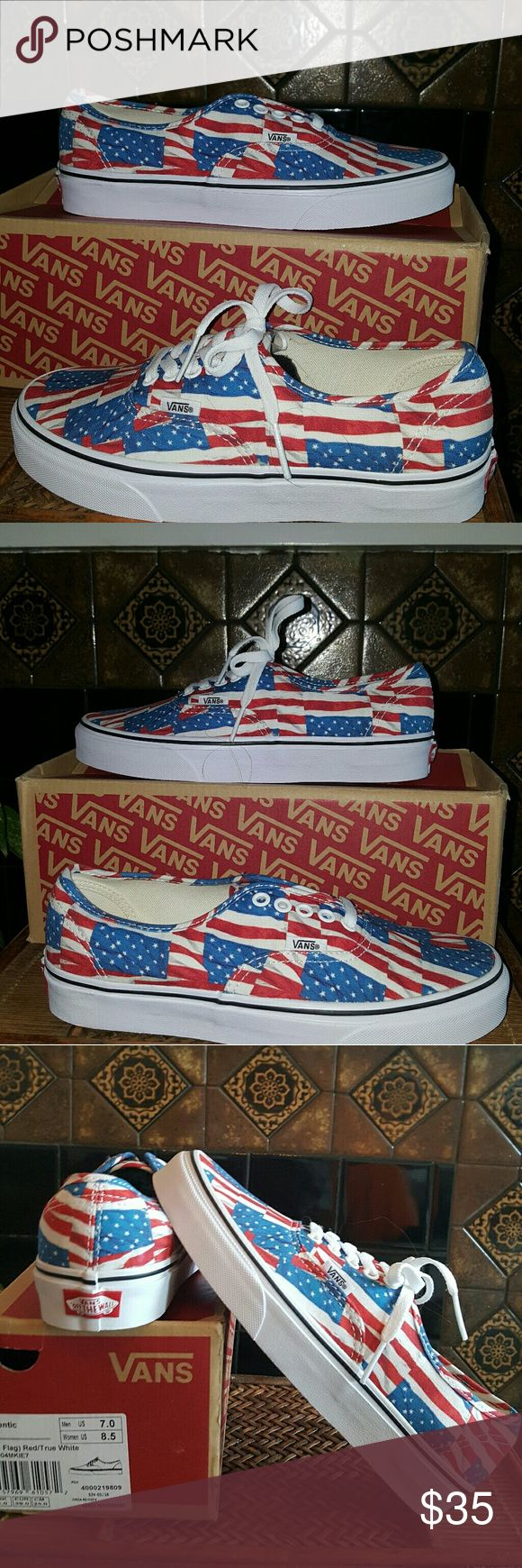 4 The Red White & Blue Vans Great Sneaker for Memorial Day, 4th of July, or Labor Day....any patriotic holiday. Awesome any day, with jeans leggings shorts skirts and sundresses. Also sk8ter wear, workout gear. Size 8.5 women's and 7.0 men's. Originally from 55.00 - but seen selling up to.99.00 #barbarajeannexo Vans  Shoes Sneakers
