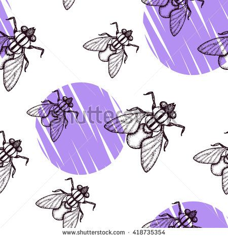 #Seamless #pattern with #fly and violet #circles on the white background. Pattern with hand drawn doodle #insects. #pointillism