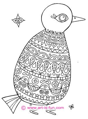 folk art bird coloring pages funky printable bird coloring book for adults teens - Color Book Printable