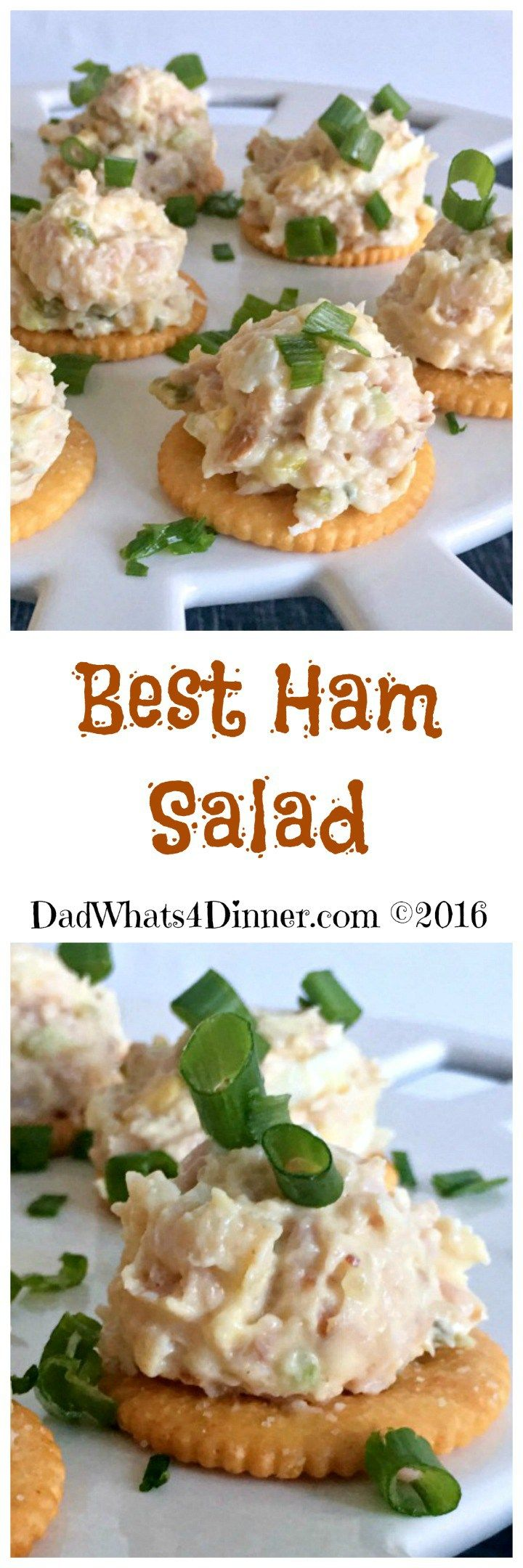 Quick and easy Best Ham Salad spread is the perfect recipe to use up that leftover holiday ham. Made with ground ham, hard-boiled eggs, mayonnaise, mustard, pickle relish and served on crackers. www.dadwhats4dinner.com ©2016