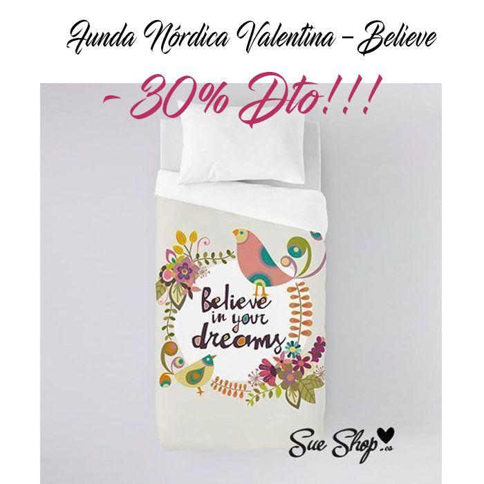 """Hoy os presentamos la Funda Nórdica Valentina de la colección """"Believe"""". @sueshop_es #fundanordica #valentina #believe #ropadecama  #textil #nordica #funda #nordico #descuento #oferta #sueshop"""