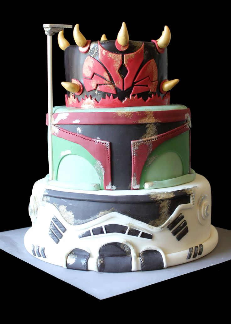 StarWars Cake -combination of Darth Maul, Boba Fett and Storm Trooper www.nichicakes.com