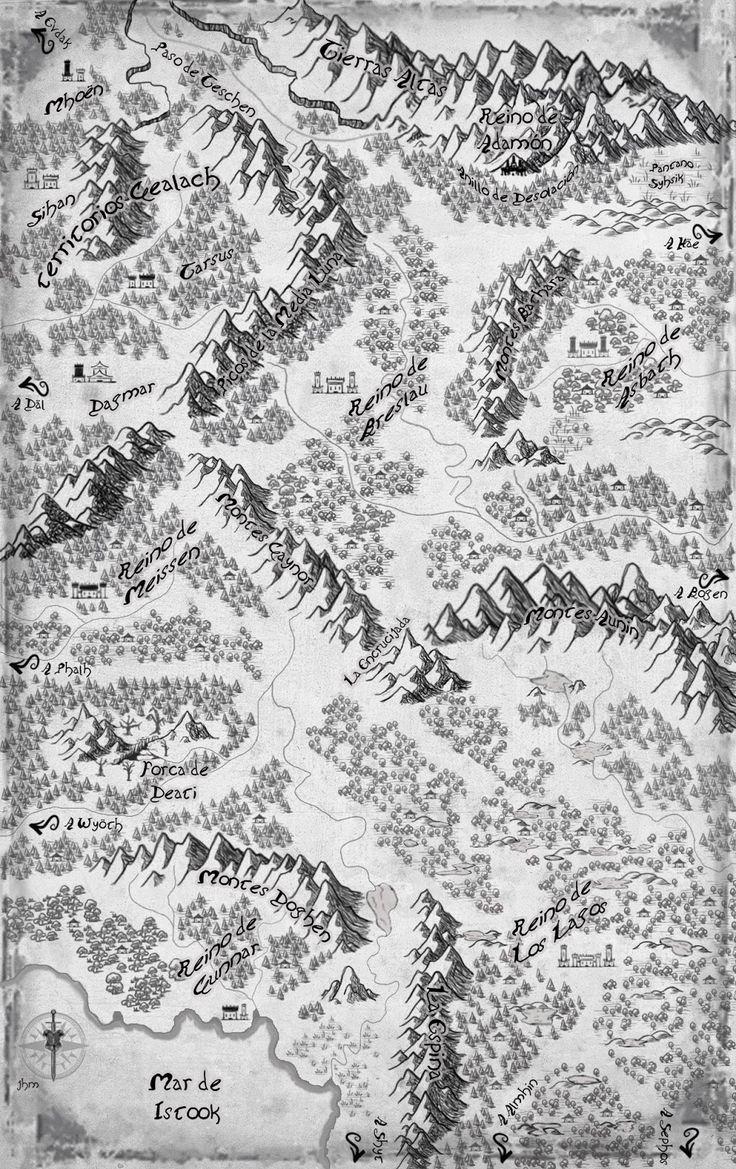 mapa con los escenarios donde transcurre la saga