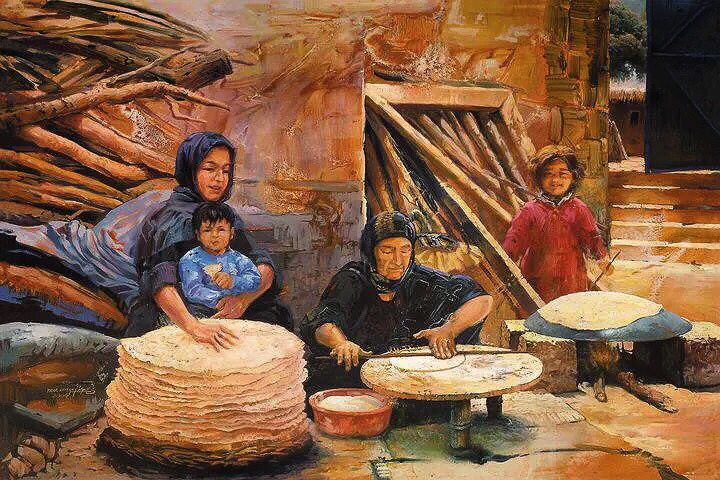 Classic Iraqi baker painting by artist Ther Alsaigh