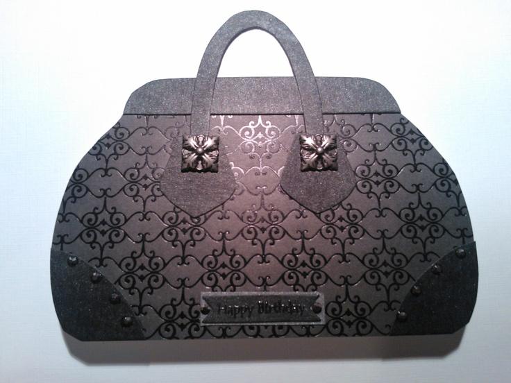 Handbag card made using Stamping T template.
