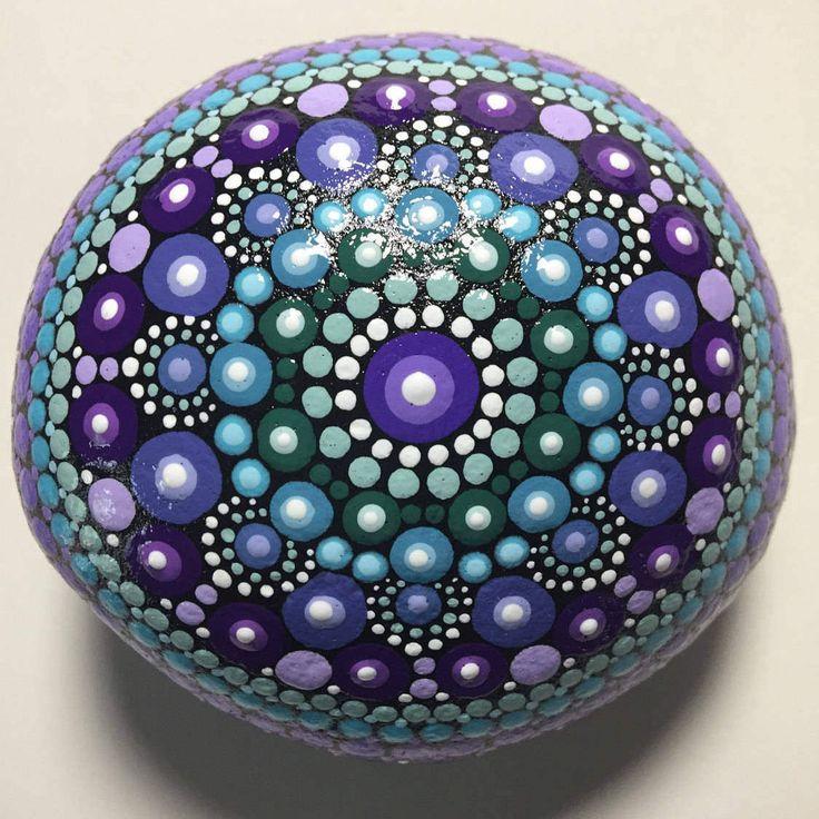 Hand Painted Mandala Stone, Mandala Meditation Stone, Dot Art, Calming, Healing, #457 by MafaStones on Etsy