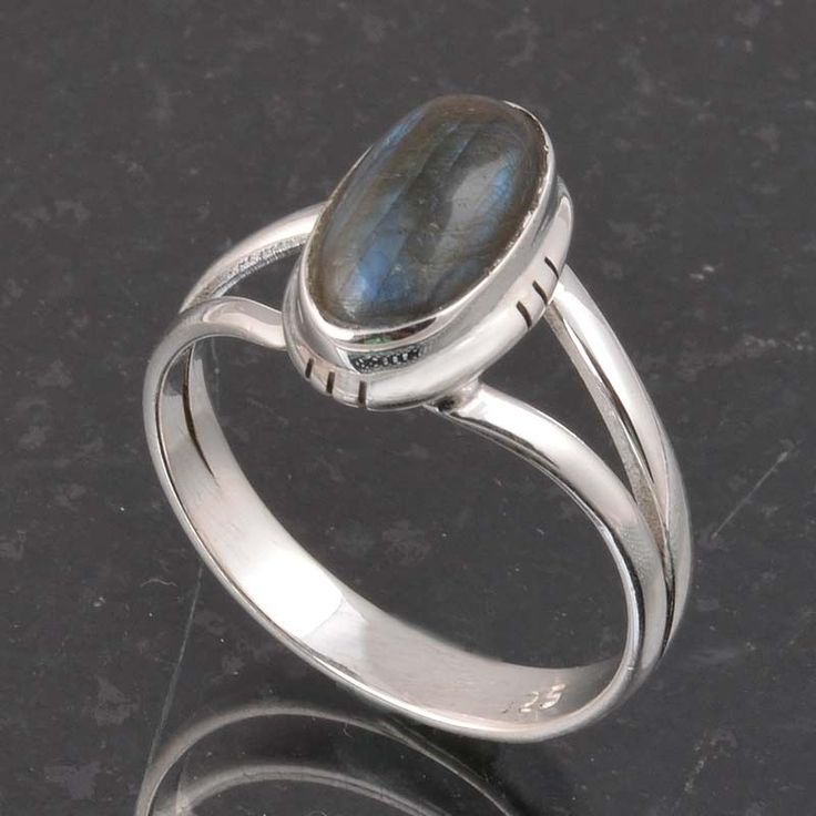 BLUE FIRE LABRADORITE 925 SOLID STERLING SILVER FASHION RING 3.39g DJR6383 #Handmade #Ring