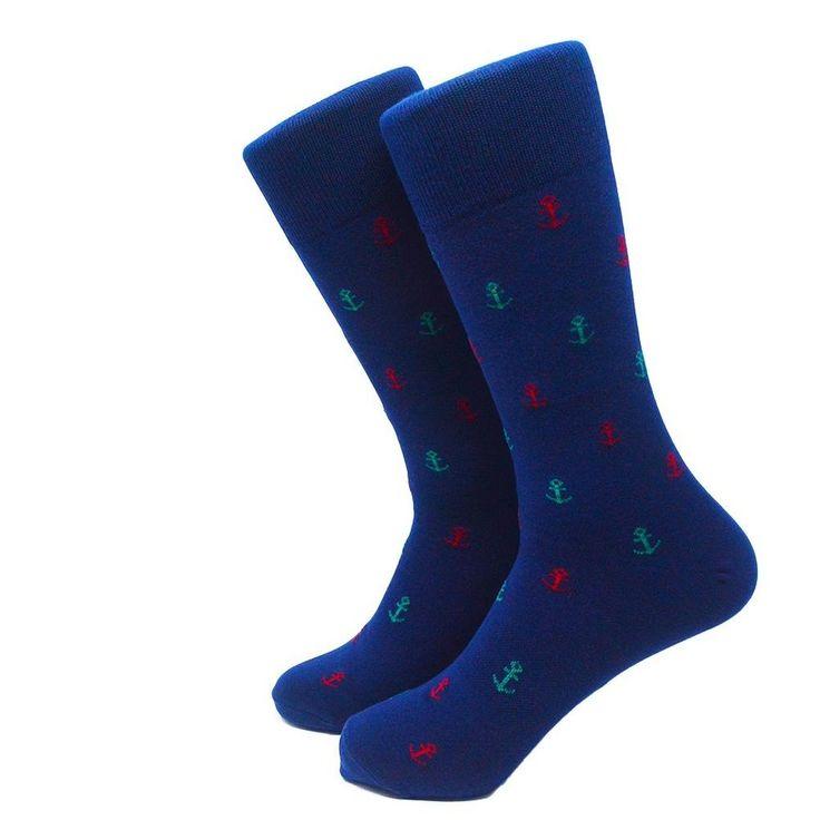 Anchor Mid Calf Socks, Green & Red