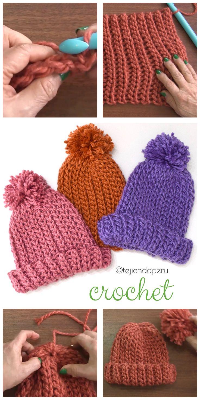 #Crochet paso a paso: gorros imitación punto elástico tricot