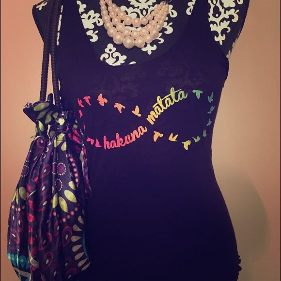 Infinity shirt with silky large floral hobo Beautiful duo! Tops