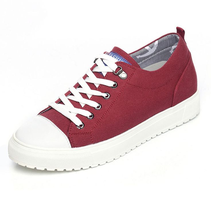 TopoutShoes - Korean height inceasing canvas shoes add taller 6cm / 2.36inch red lace up sneakers on sale at topoutshoes.com