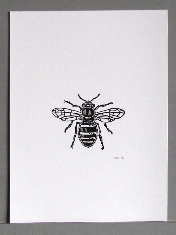 Bee Linocut Print // Handmade // Original by InkshedPress on Etsy