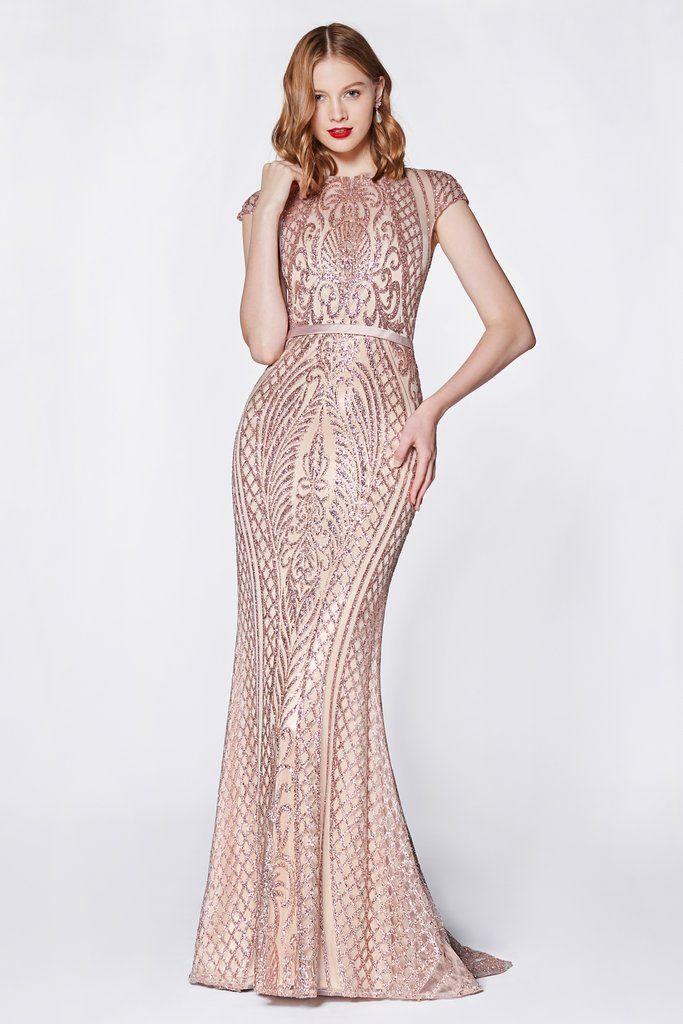 807997c6d93 Rose Gold Long Cap Sleeve Glitter Dress by Cinderella Divine J768-Long  Formal Dresses-ABC Fashion