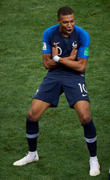 6538056f79e80 Kylian Mbappe of France celebrates after scoring a goal during the 2018  FIFA World Cup Russia Final between France and Croatia at Luzhniki Stadium  on.