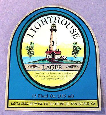 Santa-Cruz-Brewing-Co-LIGHTHOUSE-LAGER-foil-beer-label-CA-12oz