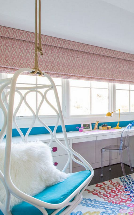 ombre teen girls bedroom with hanging chair // Nicole Hollis // Lonny