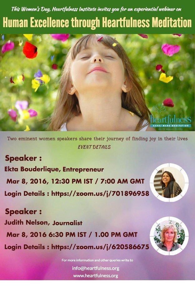 Women's Day Free Experiential Webinar - Human Excellence Through Heartfulness Meditation