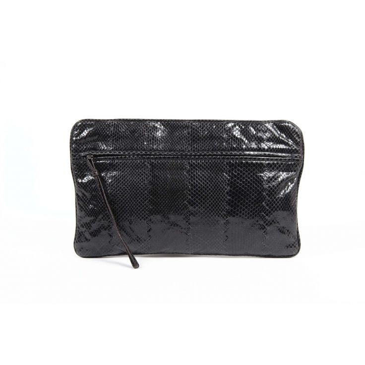 This black Bottega Veneta Women's clutch has a luxurious sheen to it. The  front zipper