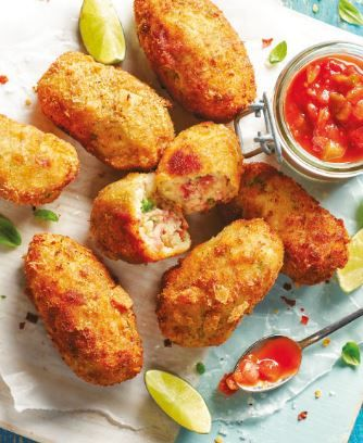 Liven up your summer spread with these super tasty Spring Onion and Serrano Croquettes! Serve with Salsa :)
