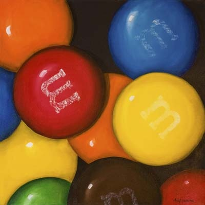 Spilled Candy  Oil on Canvas - 30x30, I LOVE CANDY AND ART! this is cool.