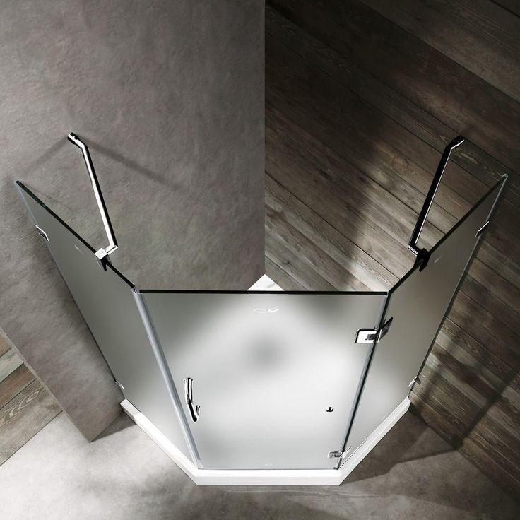 Vigo 40 In. X 78 In. Frameless Neo Angle Shower Enclosure In Chrome