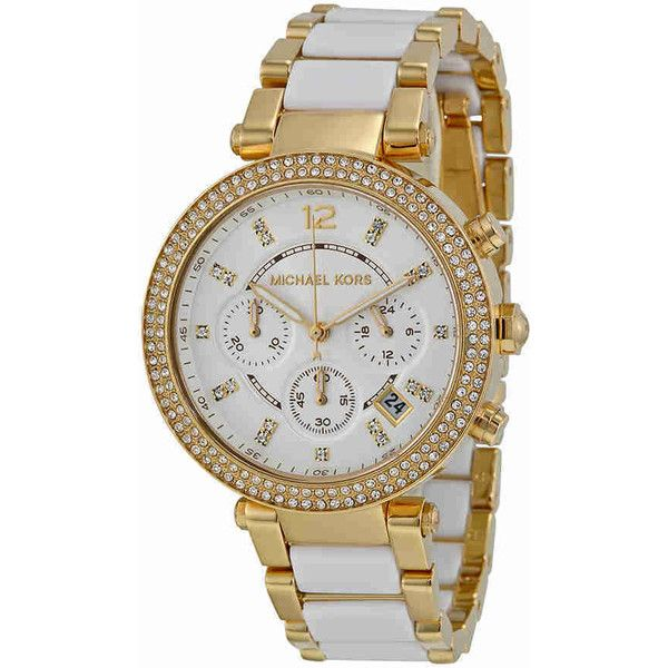 Michael Kors Parker Multi-function White Dial Ladies Watch ($158) ❤ liked on Polyvore featuring jewelry, watches, michael kors watches, quartz movement watches, dial watches, stainless steel jewellery and stainless steel jewelry