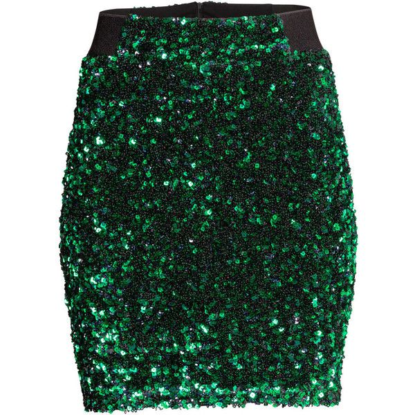 h m sequined skirt 62 liked on polyvore featuring skirts green