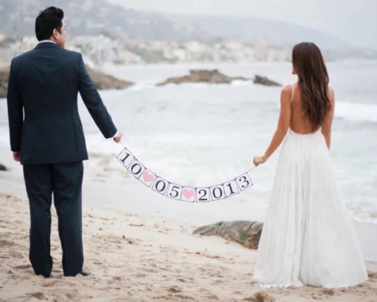 Customised hand-made Wedding date banner.