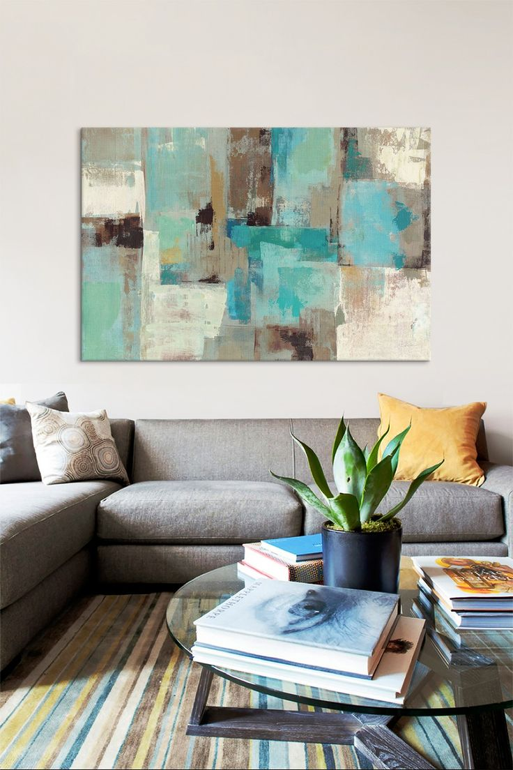 Teal & Aqua Reflections #2 Silvia Vassileva Artwork for Living Room Wall