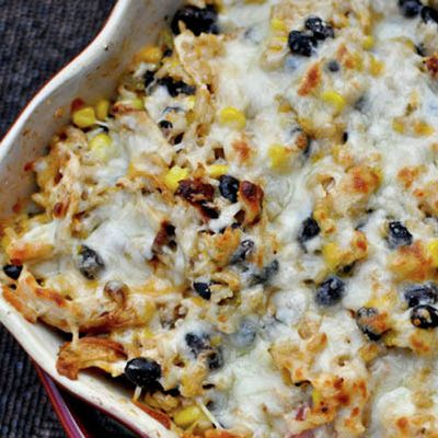 Cheesy Chicken and Rice Bake #recipe from How Sweet Eats #glutenfree