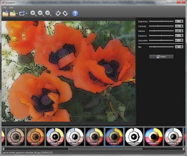 XnSketch es un software multiplataforma y gratuito con muchos efectos para convertir nuestras fotos en cartoons, caricaturas o dibujos animados.