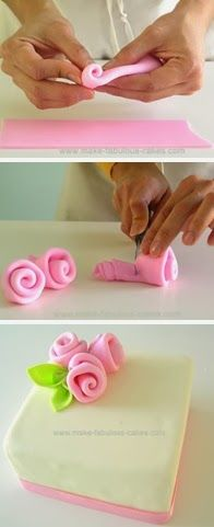How to make fondant ribbon roses. Simple and easy for Mother's Day cupcakes.