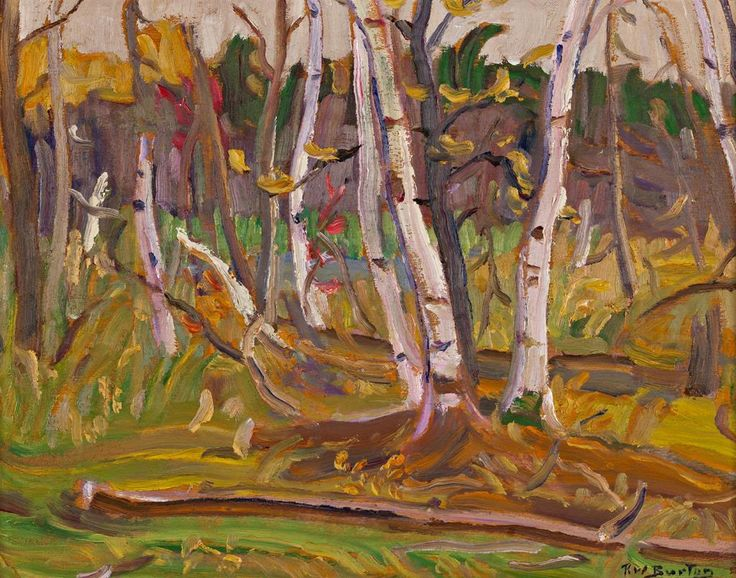 Ralph Wallace Burton - Autumn Bush 10.5 x 13.5 Oil on panel (1975)