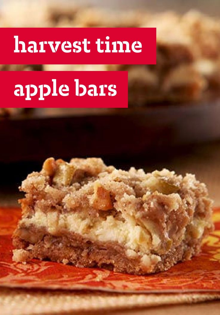 Harvest Time Apple Bars – All the fall flavors you enjoy get layered together to create this cinnamon-speckled dessert treat recipe that's wonderful for any time of year!