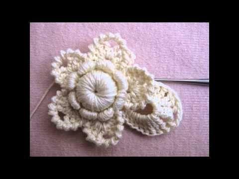 Crochet Flower With Bullion Stitch - YouTube