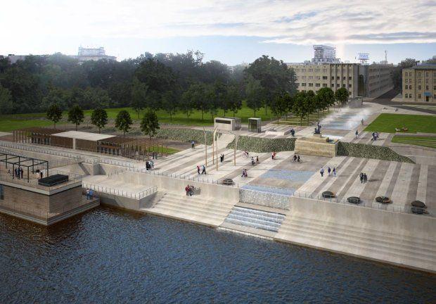 Wizualizacja przebudowy bulwarów na Wisłą w Warszawie. Spod pomnika Syreny ma tu spływać kaskada wody, iluminowana nocą