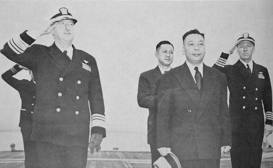 Chiang Ching-Kuo aboard USS Wasp, off Taiwan, 10 Jan 1954