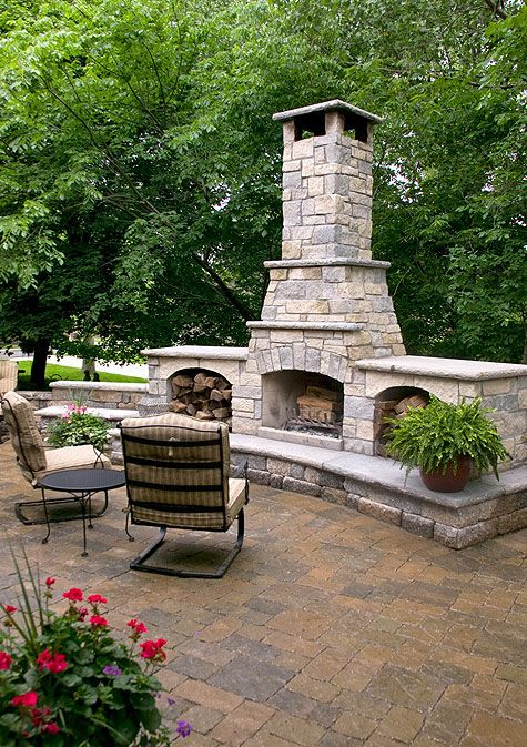 Outdoor Fireplace And Woodboxes Stone Solutions Kansas