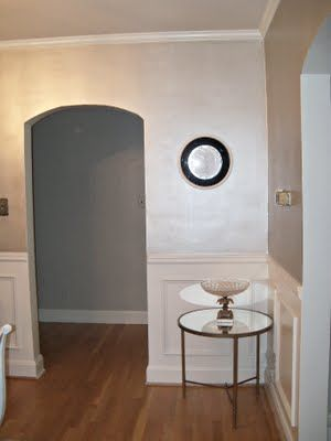 """This is not a room in my home but it demonstrates the silver color I have chosen.  Valspar """"Simple Shimmer"""" is a pearlescent silver which will go on the ceiling, trim, and serve as the accent color on the wall stencil."""