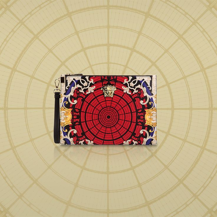 Featuring an exclusive print in bright tones, the #VersaceOrnamental Palazzo pouch celebrates Milan. Exclusively available at the Versace boutique in the Galleria Vittorio Emanuele II in Milan and online for Europe.