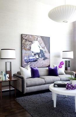 Grey, white & purple living room