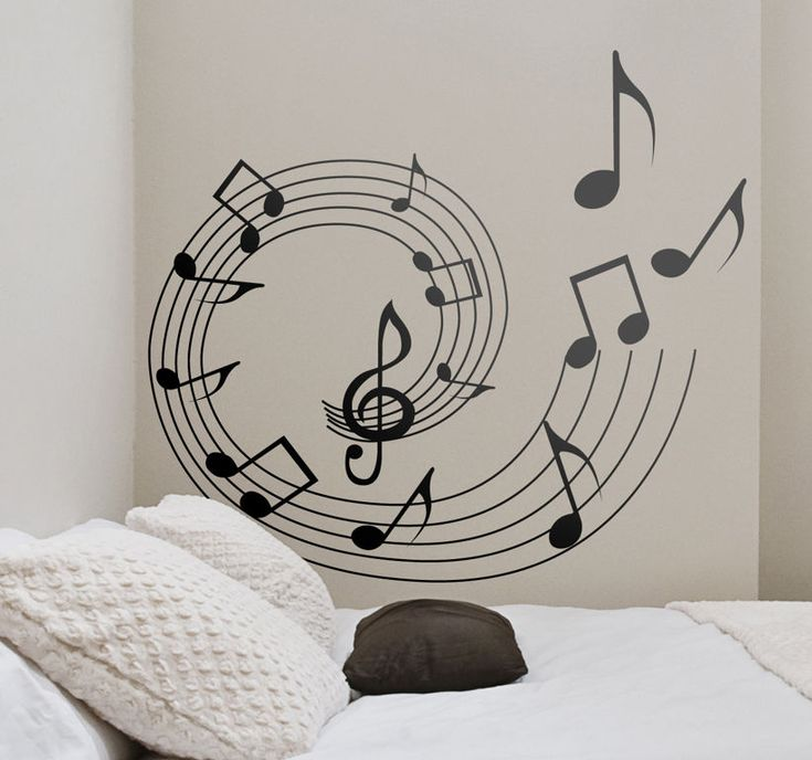 Interior : Spiral Musical Notes Wall Sticker For Small Teen . Part 52