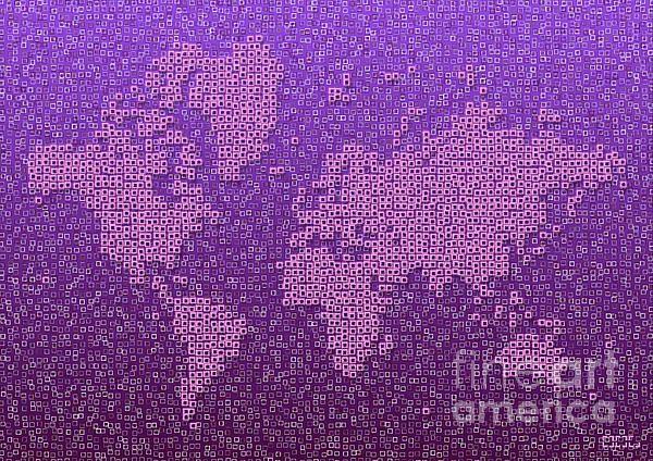 World Map Kotak In Purple by elevencorners. World map wall print decor. #elevencorners #mapkotak