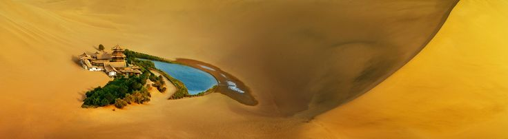 An Oasis Crescent Spring in Mount Mingsha, Dunhuang City, Gansu Province, Taklamakan Desert