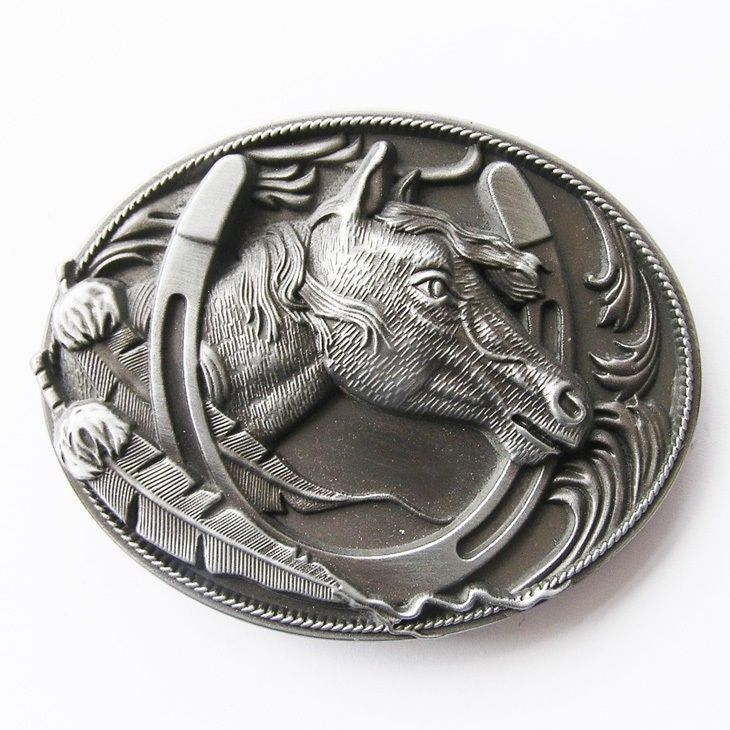 Original Horse Horseshoe Cowboy Western Metal Belt Buckle